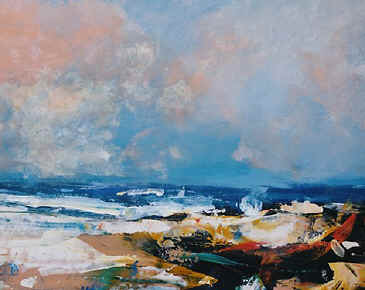 Beach, Sormy Weather - a painting by Derek Menary