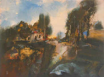 Landscape with Gate Lodge - a painting by Derek Menary